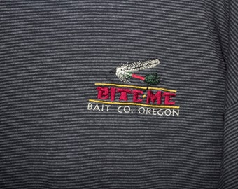 BITE ME Bait Co Oregon pinstripe flyfishing t shirt - vintage 90s