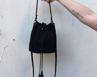 Leather Bucket bag, Drawstring bag, Black leather bag, Mini Leather bag, Gift for her, Sale!