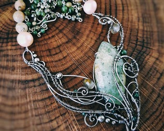 Silver jewelry jewel wire wrap wrapped gift for woman girlfriend forest floral style leaf plant green prenite jasper pearl necklace pendant