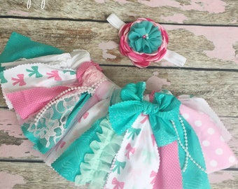 Newborn baby outfit, tutu, bow theme, pink, mint, turquoise, baby photo shoot, first birthday outfit