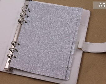Filofax dividers, A5 planner, dividers set, silver planner dividers, 6 dividers for planner organizer