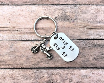 Dirt Bike Keychain - Grip It & Rip It - Motocross Gift - Motocross Keychain - Dirt Bike - Gift for Him - Racing - Dirt Track
