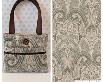 Blush Damask Shoulder Bag /Small  Purse / Magnetic Snap Closure