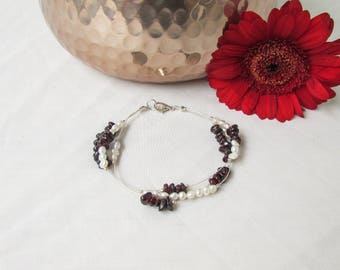 Garnet and pearl bracelet, freshwater pearl and garnet, silver plated bracelet, pearl jewelry, January birthstone, handmade in the UK