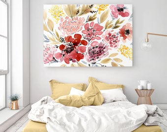 Rolled Canvas Print, August Watercolour Abstract Floral Senay Studio High Quality Archival Canvas Giclée, Watercolor Fine Art Print
