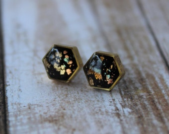 Black and Coloured Flake Hexagon Stud Earrings