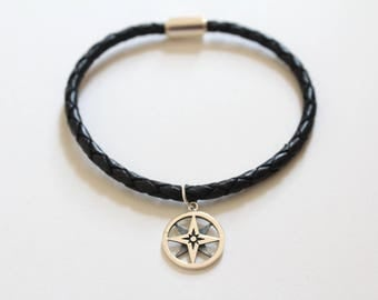 Leather Bracelet with Sterling Silver North Star Charm, North Star Compass Pendant Bracelet, North Star Bracelet, Compass Bracelet, Compass