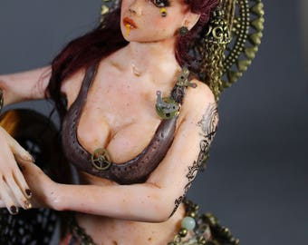 Trinket OOAK steampunk doll one of a kind fantasy magic fairy sculpture collector