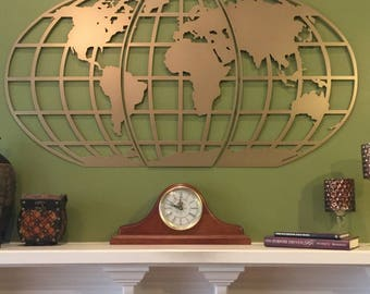 World Map Wall Art  / Globe/ Metal Wall Art/Personalized in Over 100 Color Choices / Office Decor/ Library Decor/ World Traveler/ Home Decor