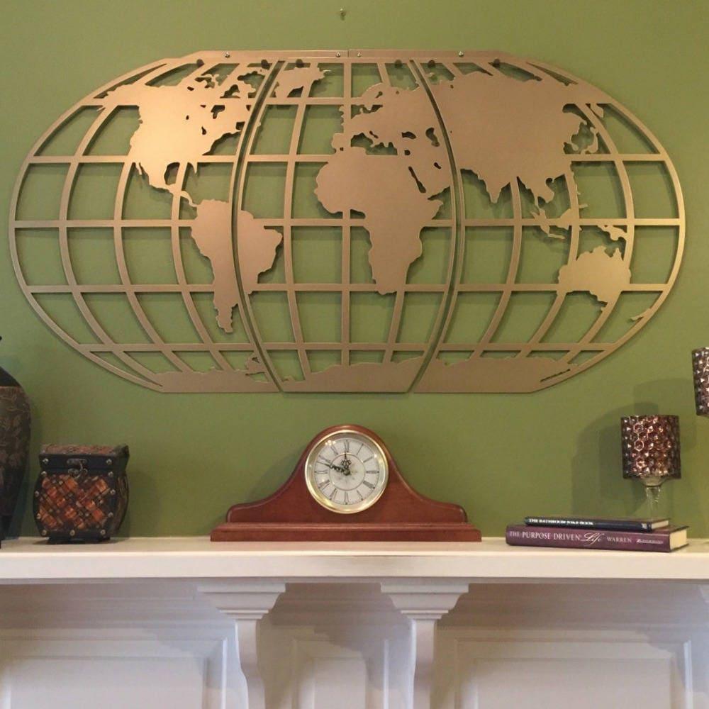 Globe wall art elitflat world map atlas globe metal wall art gumiabroncs Image collections