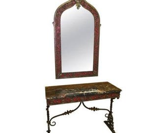 Mid Century Modern Oscar Bach Mirror and Console Table Marble and Wrought Iron
