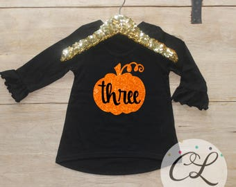 Birthday Girl Shirt / Baby Girl Clothes Pumpkin 3 Year Old Outfit Third Birthday Shirt 3rd Birthday Girl Outfit October Fall Baby Outfit 124