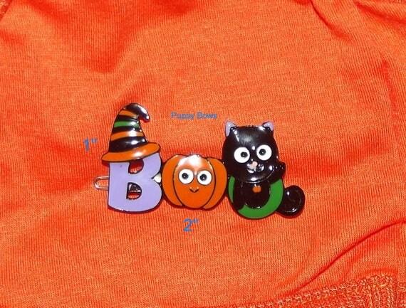 Puppy Bows ~ Halloween BOO enamel pumpkin dog hair barrette pet grooming clip