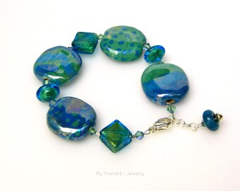 African Clay Italian Murano Glass Bracelet Blue & Green Free Trade Kazuri Beads Sterling Silver Clasp and Chain Adjustable DB235
