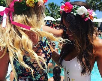 Custom Bachelorette Party Flower Crown Set, Bridal Shower Flower Crown, Bride to Be, Girls Trip, Flower Crown Set, Coachella Bachelorette