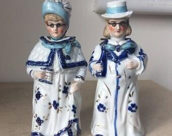 Victorian Porcelain Nodding Head Figurines, Old Couple