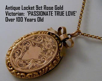Antique Locket Necklace/ 9ct Rose Gold Locket/  Victorian Locket/ Oval Photo Locket Bow Top Floral Love Token
