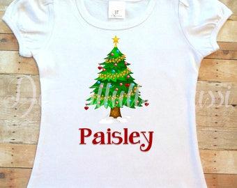 Christmas Shirt, Christmas Tree Shirt, Holiday Shirt, Personalized Christmas Shirt, Personalized Shirt, Holiday Shirt, Gifts for Girls