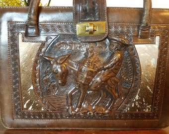 Vintage Rad Hand Tooled Mexican Leather Large Handbag with cowhide and raised leather details