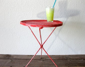 Vintage Folding Metal Side Table ~ Hanging Table ~ Mid Century ~ Mesh Table  ~ Park