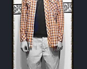 1990's Grunge Men's Hipster Button Up Plaid Shirt by Hi Gear, 80's Vintage High Gear Western Plaid Snap Shirt, Size Medium