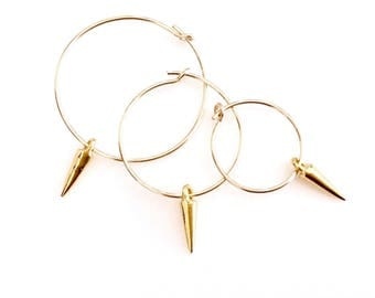 Minimalist Gold Earrings Gold Spike Earrings Gold Spike Charm Teen Fashion Jewelry Small Gold Hoops Gold Spike Jewelry Simple Hoop Earrings