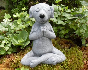 Dog Statue, Meditating Dog Statue, Zen Statue,Buddha Dog Statue,Yoga Statue,Dog Memorial Statue,Outdoor Zen Garden Decor,Concrete Dog Decor