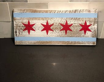 Chicago Flag Wood Sign - Reclaimed Home Decor