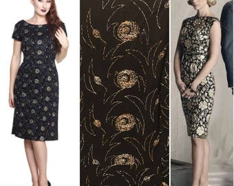 Vintage 1960s Black Wool Sheath or Wiggle Dress with Gold and Silver embroidery Size M