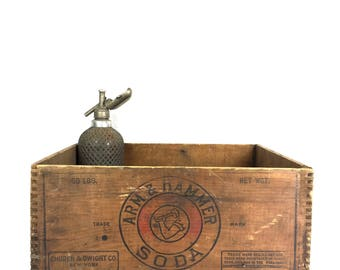 Antique Wood Crate Arm and Hammer Wooden Crate Vintage 1920s Arm and Hammer Soda Advertising Wood Crate Box