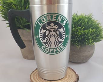 Personalized Travel Coffee Mugs, Custom Coffee Travel Mug , Coffee stainless steel mug, Thermo coffee mug, Coffee cup, Custom coffee cup