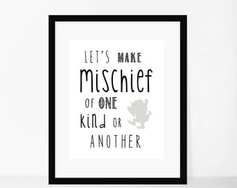 Where The Wild Things Are, Wild One Birthday, Wild Things Baby, Lets Make Mischief Nursery Of One Kind Or Another Instant Download Printable