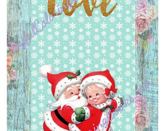 4 Christmas Santa & Snowman Colored Large Gift Tags ~ Pictures ~ Posters Pages 8.5 x 11.5