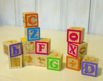 13 Large Wood Baby Blocks/Wood Toddler Toy/1980s/Alphabet Uppercase Numbers Lowercase/Brick Wall & Windows/Animals/Math/lindafrenchgallery
