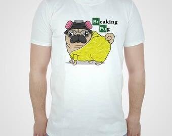 Breaking Pug T-shirt Pugs Tshirt Heisenberg Puppy Top US Tv Series Funny Pinkman Tee Cute Science Bitch White Womens Mens Kids