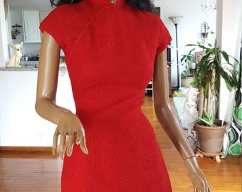 Cheongsam dress 1960's hand made fire engine red mandarin collar boucle fabric vintage 1960's mid length cap sleeve original Haute Couture