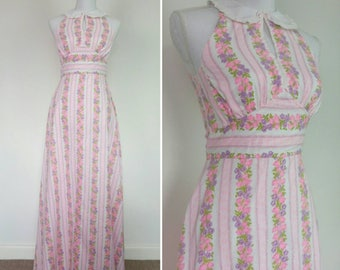 1970s Maxi cotton dress pink floral print long alterneck dress summer sun dress size XS/S