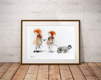 Dogs Watercolor Painting. Dogs Portrait. Dog Wall Art. Dog Watercolor illustration. Redhead girls portrait. Girls and dog. FREE SHIPPING!