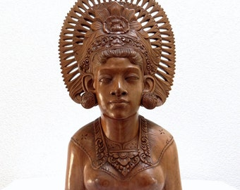 Art Deco Carved Wooden Sculpture, Colonial Antique Indonesian Hard Wood Woman Statue Dewi Sri -  Mythology Javanese Goddess of Fertility