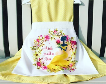 MADE TO FIT Disney Beauty and the Beast Belle apron pinny dress quality 100% cotton lemon spot fabric with separate pinny and ribbon sash