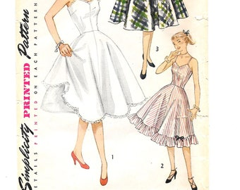 1950s Lingerie SLIP Petticoat ~ Vintage Sewing Pattern ~ Size 14 Bust 32 ~ Rockabilly ~ 1951 ~ Fitted Bodice ~ Scalloped or Ruffled Edge