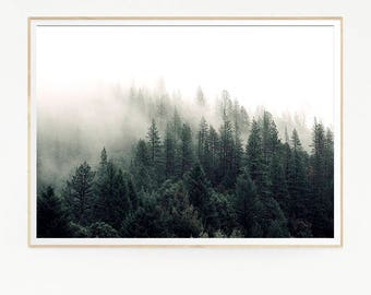 Pine Trees Mountains Forest Wall Decor Nordic Art Print Poster Scandinavian Monochrome Green Black Nature Wilderness Minimalist Wild 1045