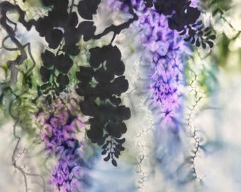 Original Contemporary art Wisteria flowers purple Black leaves Painting on textile Modern Impressionism Small artwork Wall decor painted