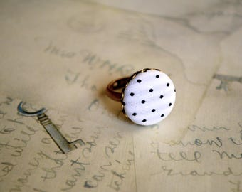 Bohemian Button Ring. Button Adjustable Ring. White And Black Polka Ring. Vintage Ring. Fabric Ring. Under 10 dollar. Gift For Her. Retro .