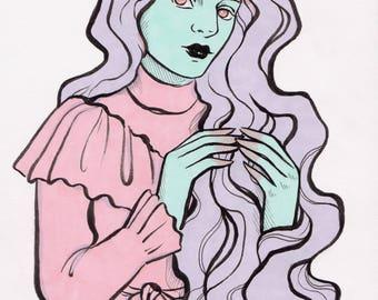 Stella - Pop Surrealism Pastel Edwardian Girl Original Illustration