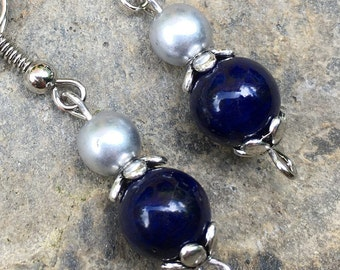 Bridesmaid earrings navy blue & silver earrings bohemian earrings  boho jewelry set of 4  5  6  7  8  bridesmaid earrings wedding day