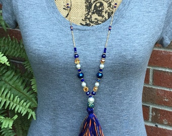 long beaded necklace tassel necklace boho jewelry blue orange Game Day accessories  long beaded bohemian pearl necklace gold beaded necklace
