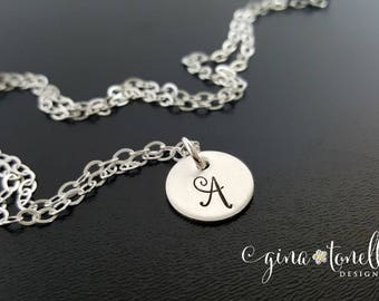 Sterling Silver Initial Necklace, Personalized Bridesmaid Necklace, Tiny Initial Charm, Delicate Initial Necklace, Monogram Necklace
