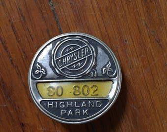Vintage Metal Chrysler Employee Badge