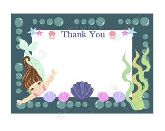 instant download,mermaid themed birthday,mermaid themed thank you card,ocean themed birthday,mermaid thank you note digital